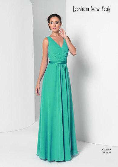 Robe de cocktail longue - NY2749 Couleur Vert d'eau
