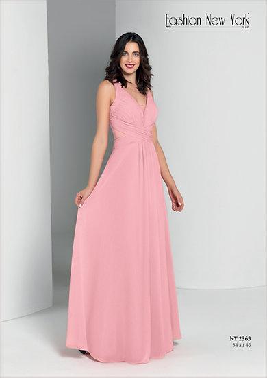 Robe de cocktail longue - NY2563 Couleur Rose poudré