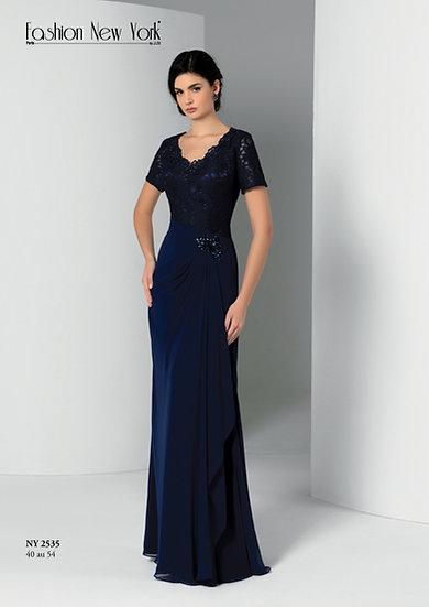 Robe de cocktail longue - NY2535 Couleur Bleu marine