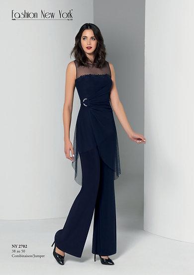 Combinaison pantalon cocktail - NY2702 Couleur Bleu marine