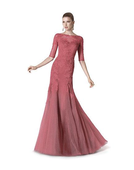 Robe de cocktail longue - 5313 Couleur Vieux rose