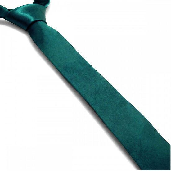 Cravate satin unie slim - Bleu Canard