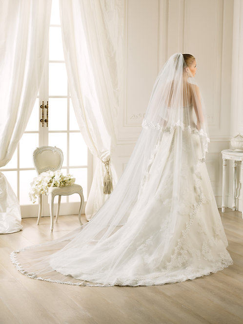 Voile de mariée tulle et broderie - V-2756
