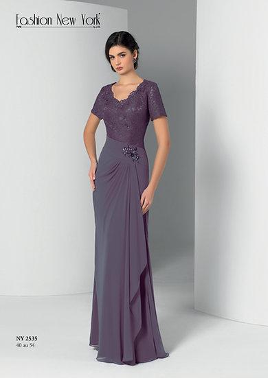 Robe de cocktail longue - NY2535 Couleur Lavande
