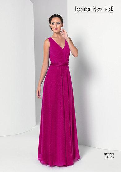 Robe de cocktail longue - NY2749 Couleur Magenta