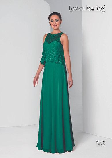 Robe de cocktail longue - NY2746 Couleur Vert émeraude