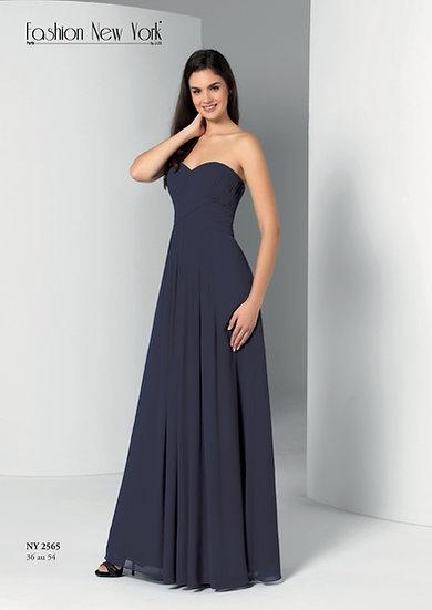 Robe de cocktail longue - NY2565 Couleur Bleu Marine