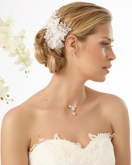 Coiffe de mariée organza et dentelle Bianco Evento - 4602