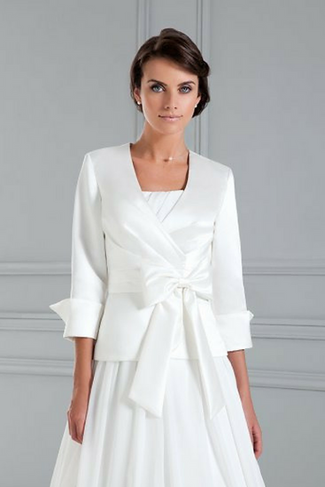 Boléro de mariée satin ivoire - NC2103