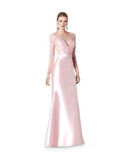 Robe de cocktail longue - 5309 Couleur Rose perle