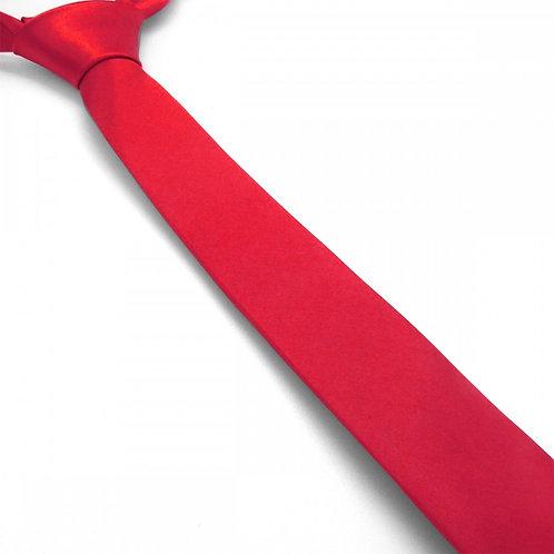Cravate satin unie slim - Rouge Hermès