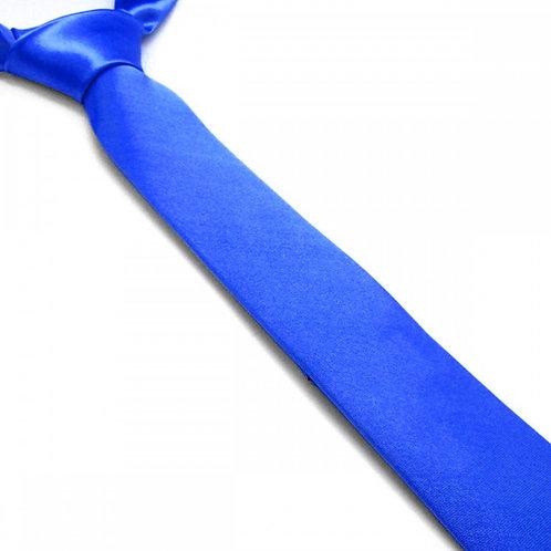 Cravate satin unie slim - Bleu Roi