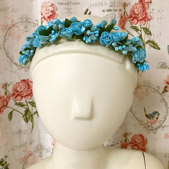 Couronne de fleurs bohème - Bleu
