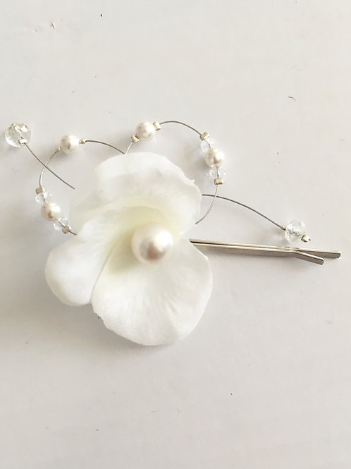 Barrette de mariée - Fleur et Perles