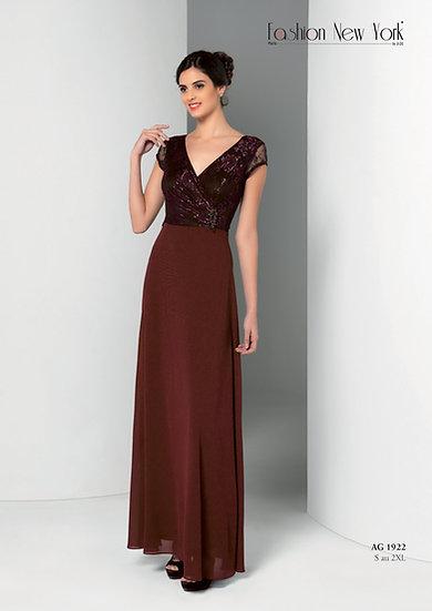 Robe de cocktail longue - AG1922 Couleur Bordeaux