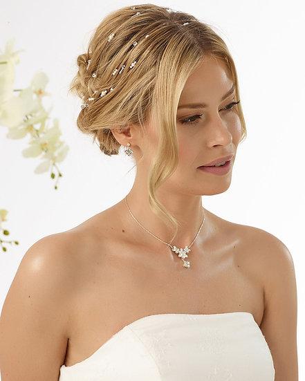 Coiffe de mariée avec perles et cristaux Bianco Evento - 12175