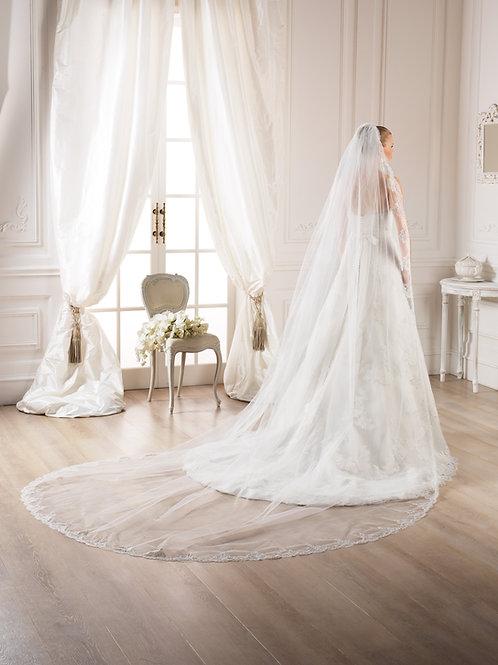 Voile de mariée tulle et dentelle pailletée - V-2765