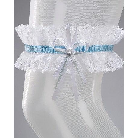Jarretière Mariée SB-1 - Couleur Blanc/Bleu