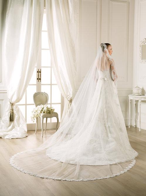 Voile de mariée tulle et guipure - V-2753