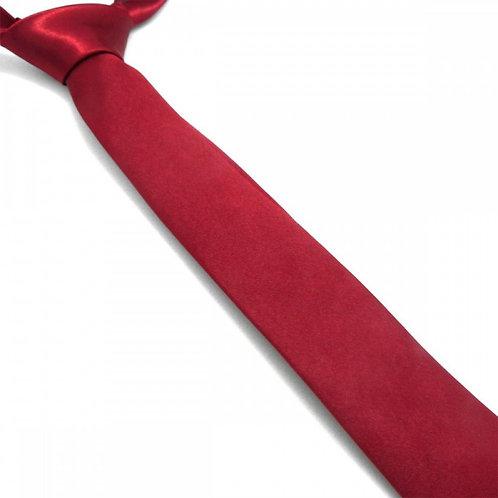 Cravate satin unie slim - Bordeaux