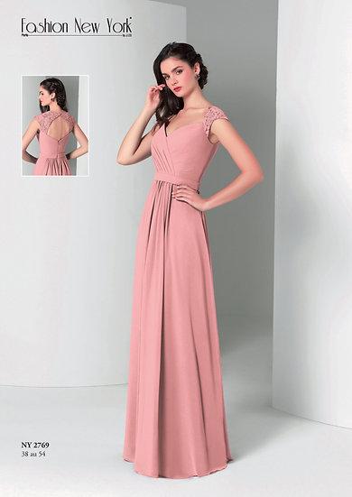 Robe de cocktail longue - NY2769 Couleur Rose poudré