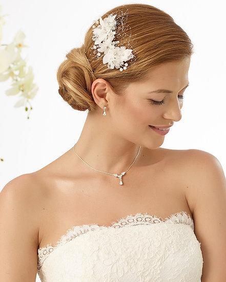 Coiffe de mariée fleurs et strass Bianco Evento - 128