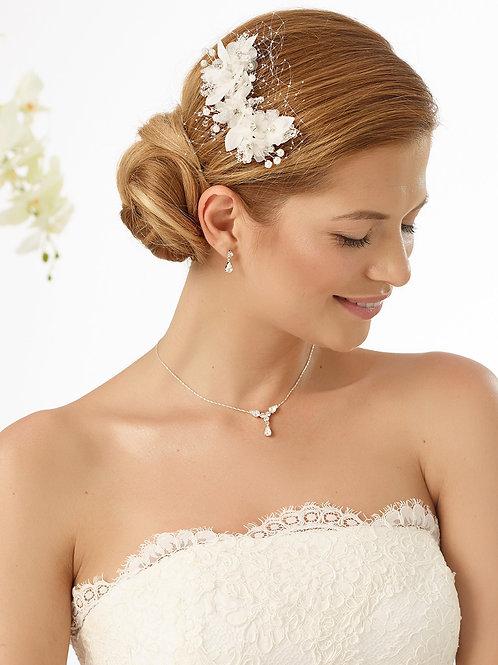 Coiffe de mariée fleurs et strass -128