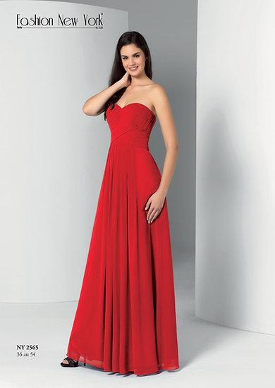 Robe de cocktail longue - NY2565 Couleur Rouge