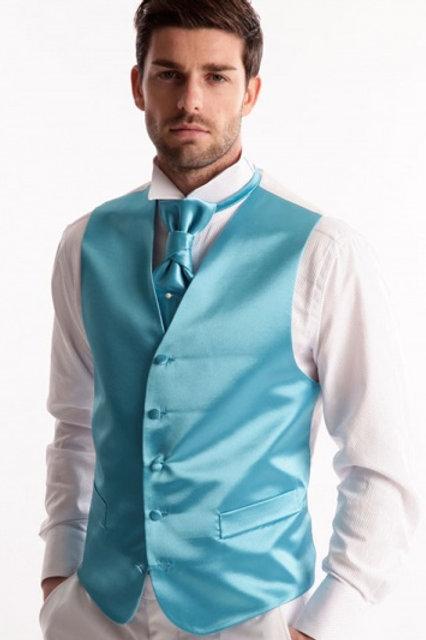 Gilet de marié satin - Turquoise