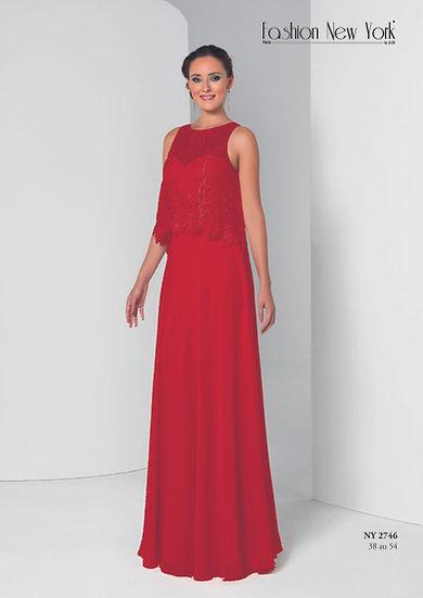 Robe de cocktail longue - NY2746 Couleur Rouge