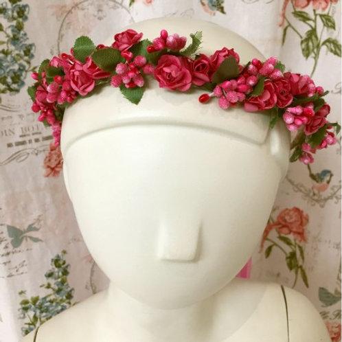 Couronne de fleurs bohème fushia