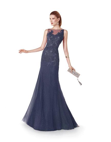 Robe de cocktail longue - 5312 Couleur Bleu marine