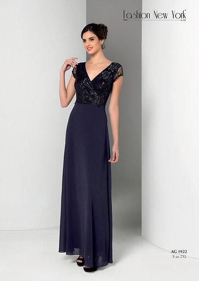 Robe de cocktail longue - AG1922 Couleur Bleu marine