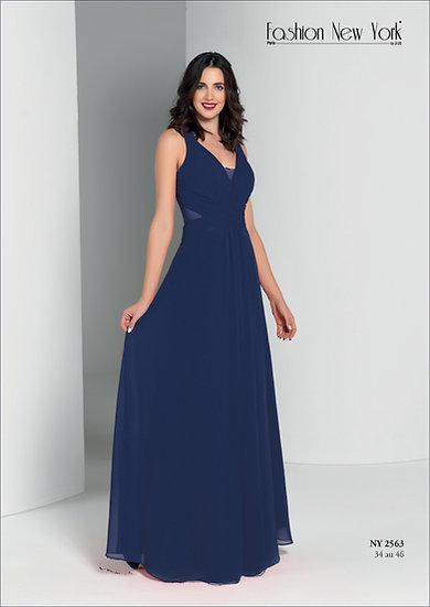 Robe de cocktail longue - NY2563 Couleur Bleu marine
