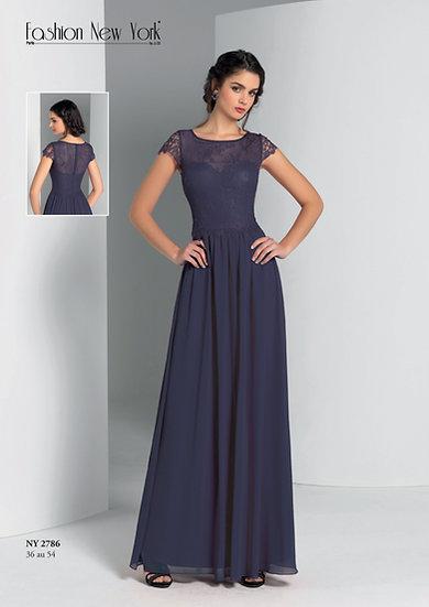 Robe de cocktail longue - NY2786 Couleur Bleu marine