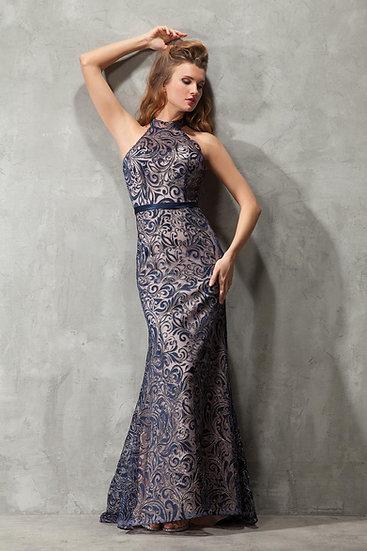 Robe de cocktail longue - NY2561 Couleur Bleu marine