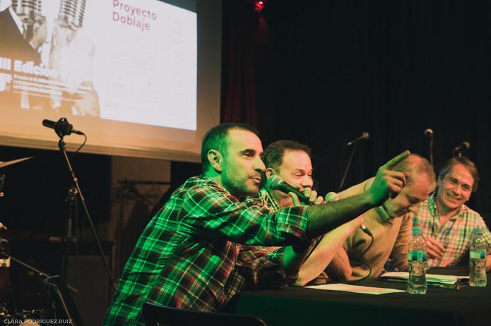 Claudio Serrano participando en las jornadas de doblaje (Café Berlín, junio 2018)