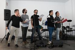Miguel Morant con los alumnos del curso de doblaje de canciones (Madrid, octubre 2017)