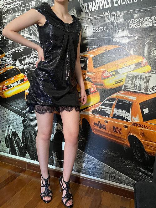 Vestido em paetê preto - AUTHORIA - PP