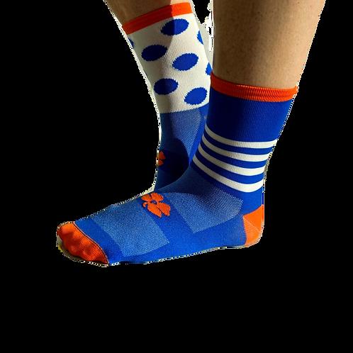 assymetrische fietssokken blauw/oranje/wit