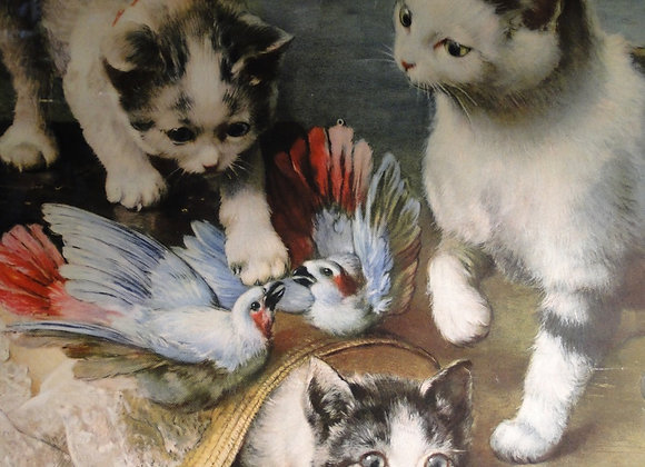 Antique Print of 3 Kittens attacking a hat