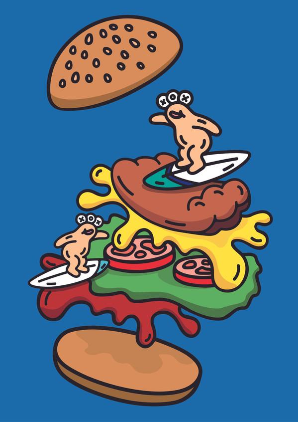 OXU friends_hamburger surfing