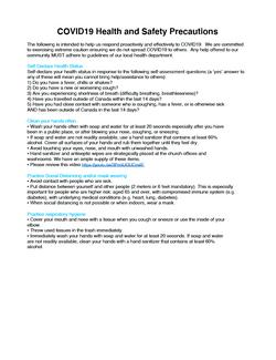 COVID-19 Health & Safety