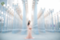 LACMA Lights maternity photo session