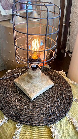 Tafel lamp hout met metaal