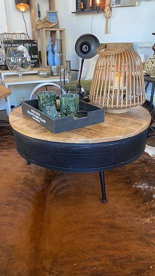 Salontafel hout met zwart metaal
