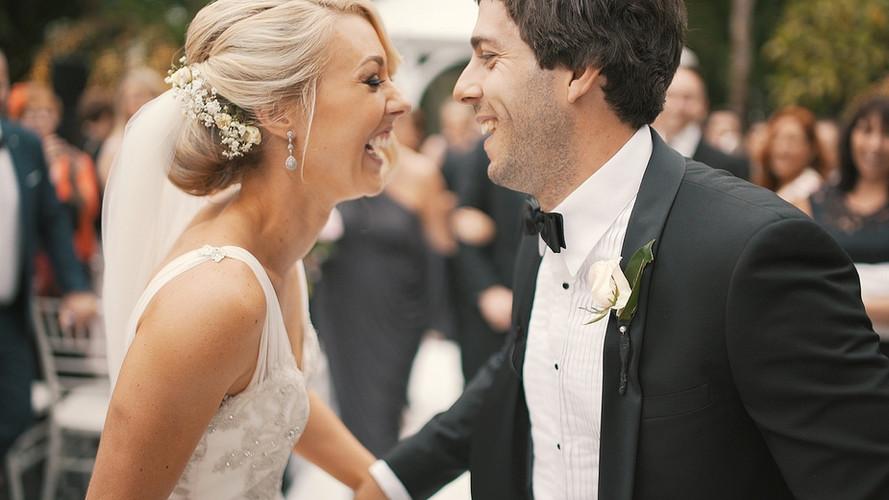 Wedding Couple Laughing