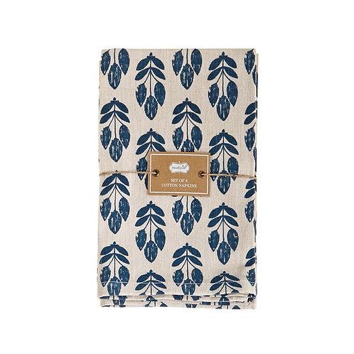 Blue + Tan Cloth Napkins - Set of 4
