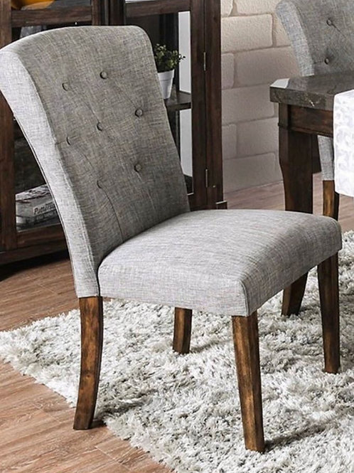Gray Tufted Fabric Dining Chair