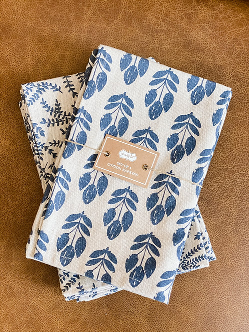 Navy Wheat Napkin Set